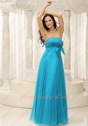 Crinkle Ruching Empire Sky Blue Brand Clearance Hot Sell Evening Dress With Bowknot