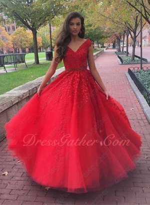 Fascinating V-neck Appliques Red Tulle Princess Portrait Photo Dresses Not Puffy