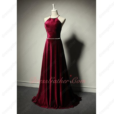 Pearls Decorated Peter Pan Collar Cross Back Wine Red Velvet Dresses Stores
