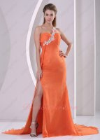 Orange Chiffon One Shoulder Right Thigh Side High Slit Pageant Dress Sweep Train