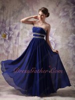 Midnight Royal Blue Chiffon Beaded Stipes Decorate Formal Gowns College Girl