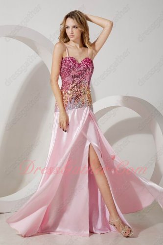Twinkling Gradient Colorful Sequin Pink/Gold/Silver Evening Prom Gowns Cute