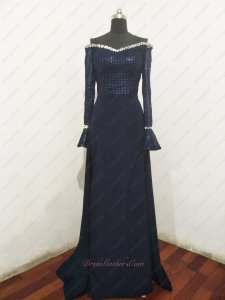 Off Shoulder Long Trumpet Sleeves Spandex Navy Host Evening Gowns Sparkling Grid