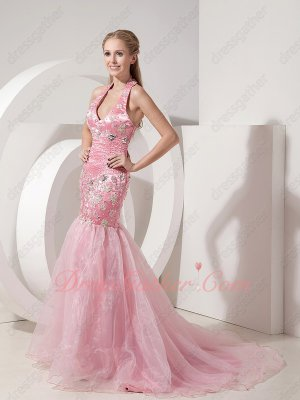 Noble Auld Rose Pink Formal Party Lady Wear Dress Attire Halter Mermaid Skirt
