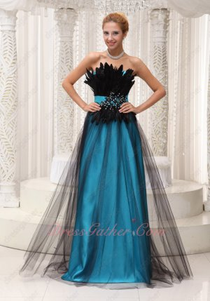Aqua Blue Lining Pageant Prom Dress Covered With Black Tulle and Feather
