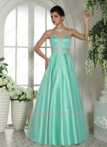 Mint Apple Green Little Puffy Tulle Military Evening Ball Gown Predominant