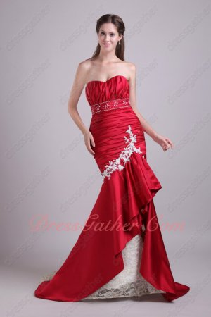 Dark Red Mermaid Package Hips Fishtail Formal Gowns Dress With Lace Hemline