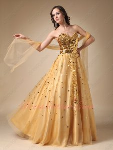 Sparkling Sequin Bodice Tulle Skirt Golden Formal Evening Party Wear Prom Queen