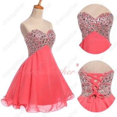 Crystals Decorate Sweetheart Neck Empire Waist Coral Chiffon Homecoming Dress Cheap