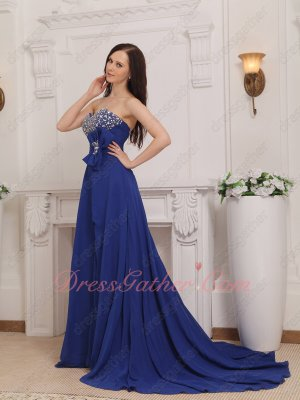 Royal Blue Chiffon Cheap Court Train Formal Evening Dresses With High Slit Opening