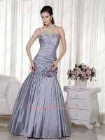 Silver Taffeta Package Haunch Trumpet Hemline Formal Prom Dress Handwork Craft