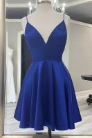Spaghetti Strap Royal Blue Graduation Homecoming Dress Plentiful Big Tits