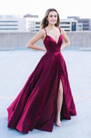 Deep Sweetheart With Spaghetti Strap Fuchsia Formal Evening Dress High Slit