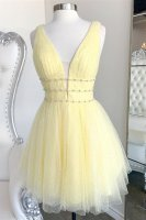 Wide Straps Fine-scale Wrinkles Daffodil Sparkle Tulle Short Graduation Cocktail Dress