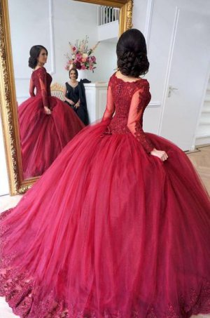 Modest Muslim Sheer Scoop Long Sleeves Wine Red Quinceanera Ball Gown Lace Hemline