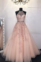 Exclusive Halter Leaves Accented Prom Evening Dress Lotus Root Pink Pale Blush