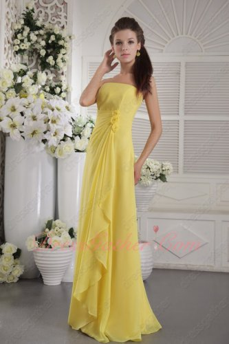 Bright Yellow Strapless Long Puberty Bridesmaid Dress Hand Made Flowers Side Decorate