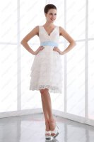 Multilayer White Lace Baby Blue Sash Short Beach Wedding Bridal Dress Handiness