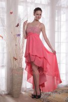 Straps High-low Design Empire Beading Watermelon Drinking Party Dress Super Hot