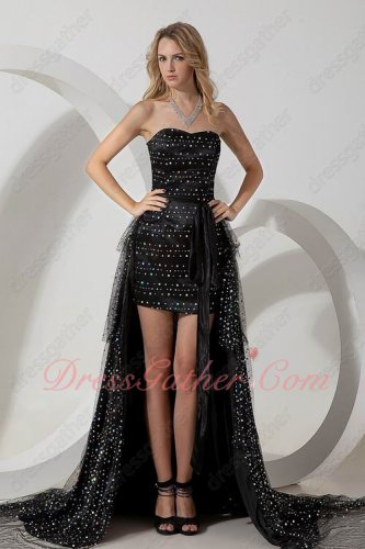Sparking Sequin Black Multilayer Detachable High Low Prom Dress Stars Same Style
