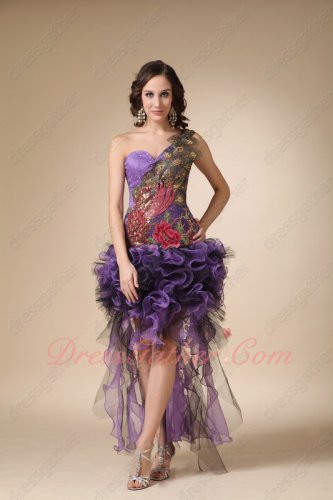 One Shoulder Peacock Feathers High-low Design Purple Cascade Prom Dress Memorable