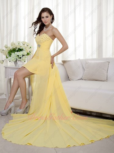 Lightness Sweetheart Beaded/ Shirred Pale Goldenrod High-low Prom Evening Dress