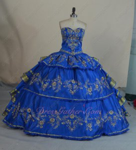 Royal Blue Satin Gold Embroidery V-Shaped Basque Western Village Quinceanera Ball Gowns
