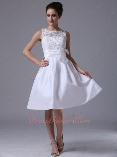 Modest Translucence Applique Scoop Bodice Ceremony Presenter Short Dress With Bowknot