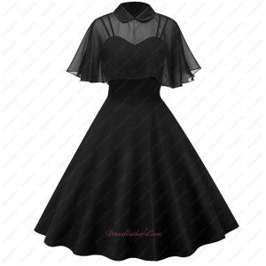Amiable Black Spandex Short Prom LBD Vintage Formal Prom Dress and Lapel Cloak