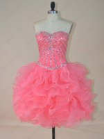 Lovely Thick Ruffles Knee Length Watermelon Organza Cocktail Dress Free Shipping UPS