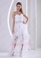 Unique Waist Beaded Cascade Ruffle White Organza Runway Pageant Dress Princess Boutique