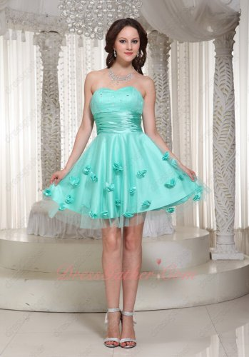 Mint Apple Green Gauze 3D Flowerlets Dotted Knee Length Formal Prom Dress Most Popular