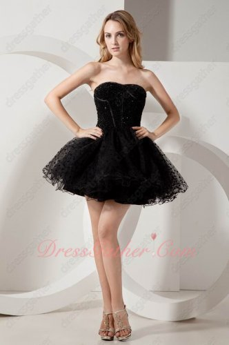Strapless Beaded Mini Length Annual General Gathering Prom Dress Little Black