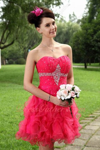 Cute Strapless Fuchsia Organza Ruffle Masque Dancing Party Evening Ball Dress