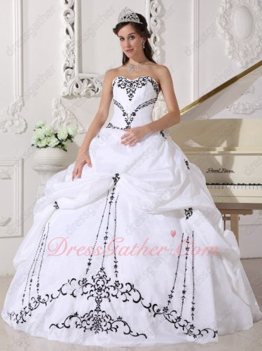 Western Village Classical White Military Ball Dress With Black Embroidery