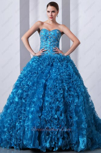Dress Like Princess Ruffles Ball Gown Sky Blue Quinceanera Dress Winter