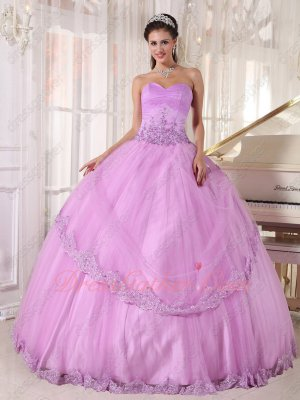 Strapless Lacework Lilac Fashion Color Quince Gown Underskirt With Tulle Make Puffy