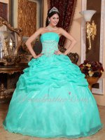 Pretty Bubble Skirt Design Apple Green Weekend Event Quince Ball Gown Silver Details