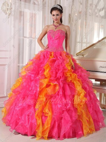 Hot Pink and Orange Mingled Ruffles Skirt Girl's First Quinceanera Ball Gown