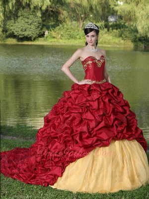 Wine Red Taffeta Bubble Train Overlay Flat Gold Organza Quinceanera Gown
