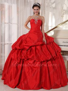 Alizarin Crimson/Dull Red Taffeta Lady Grand Bustle Celebrity Ball Gown Ready Sale