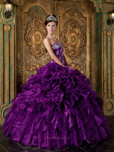 Brilliant Shiny Orchid Pansy Purple Quinceanera Gowns Thick Ruffles Puffy