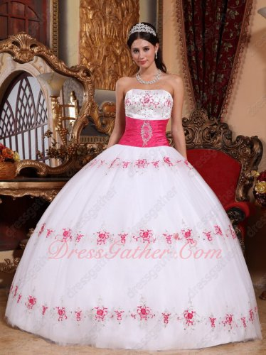 Strapless White Tulle Carnival Military Ball Dress With Hot Pink Belt/Embroidery