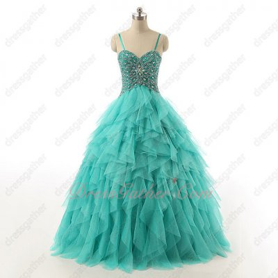 Pale Mint Ruffles Inverted Waistline Spaghetti Straps Prom Dress Chromatic AB Crystals