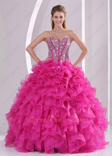 Cheap Hot Pink Dense Ruffles Quinceanera Ball Gown Beading Corset/Fishbone Lines
