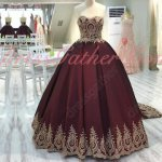 Darkest Wine Red Ball Gown Golden Pineapple Lacework Hemline Custom Made For Plus Size