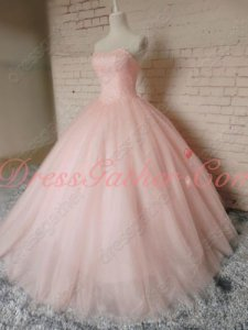 Lovely Fully Beading Bodice Blush Tulle Girls' Quinceanera Ball Gown Pageant