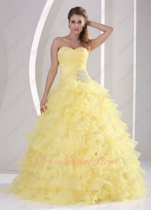 Daffodil Yellow Organza Dense Ruffles Princess Quinceaners Queen Ball Gowns Cheap