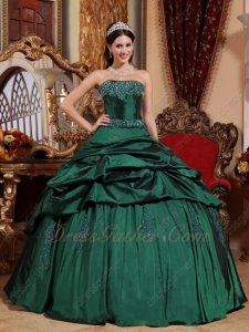 Dark Hunter Green Strapless Floor Length Ball Dress Military Party