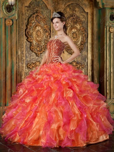 Lines Full Polyester Boning Organge/Hot Pink Ruffles Fluffy Quinceanera Gown